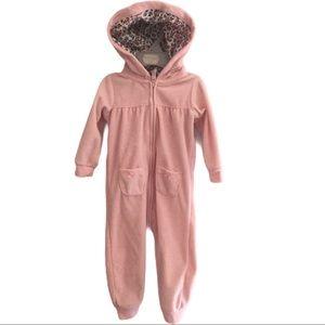 CARTERS 12month Pink Bear Zip Up Hoodie One Piece